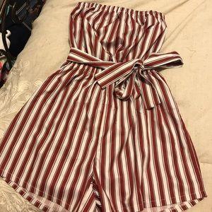 maroon striped romper